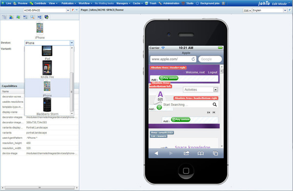 Jahia 6.6.1 Edit window for iPhone