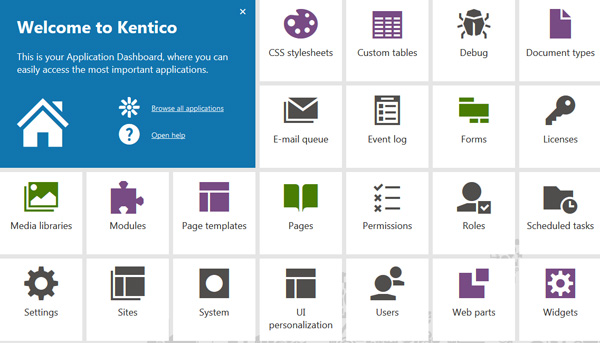 Application Dashboard - Kentico 8