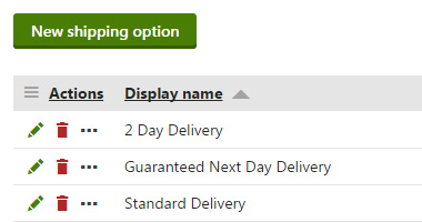 Kentico Shipping Options