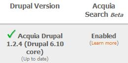 Acquia Search Status on Acquia Network