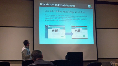Sven-Erik Knoff presenting at the Wondercode Showcase session at CMS Expo 2012