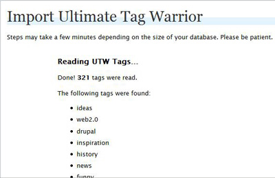 Example of importing UTW into the Wordpress 2.3 tables.