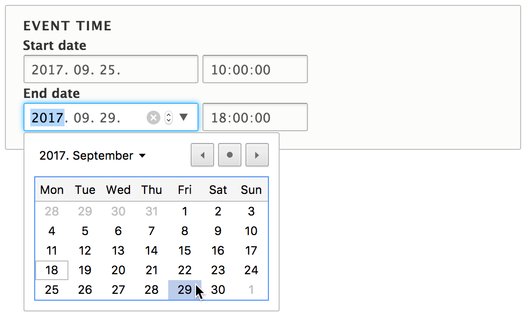 Datetime Range User Interface
