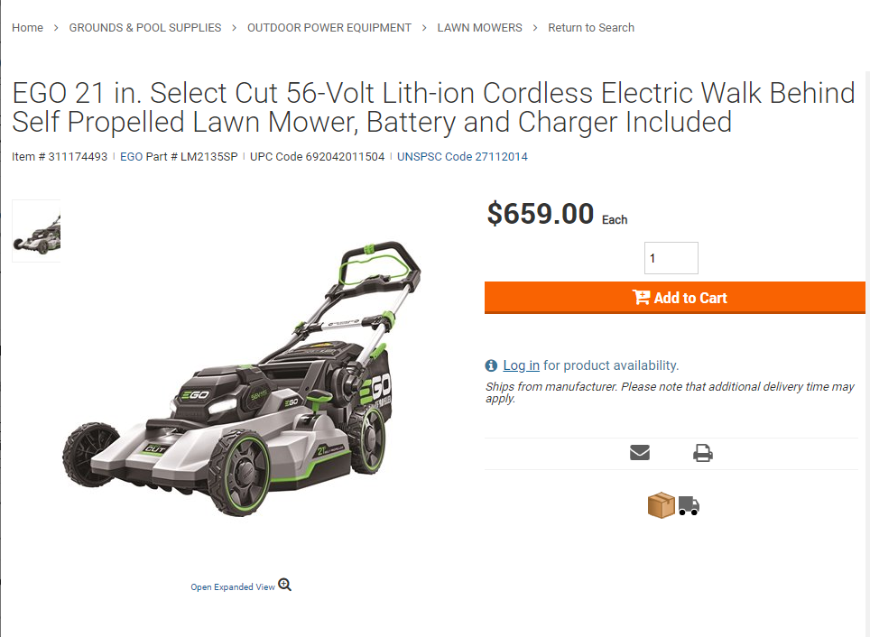 Screenshot of EGO Select Mower (LM2135SP) in HD Webpage