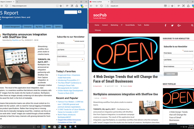 A comparison between CMS Report (left) and the new socPub (right)