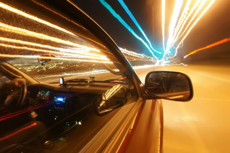 Car speeding down the night road - CC0 Creative Commons via Pixabay