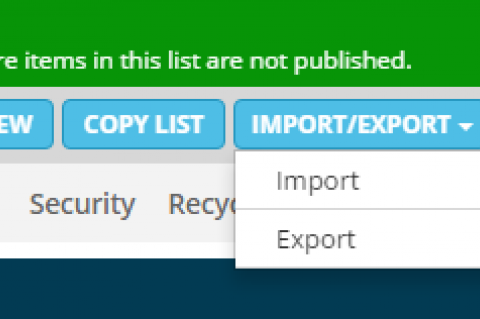 Screenshot of a CMS with an export option