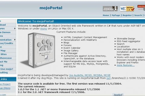 Screenshot of mojoPortal