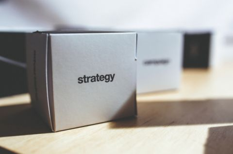 A box with the word strategy on it