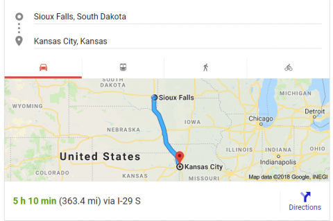 Route from Sioux Falls to Kansas City
