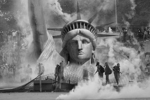 Montage of Statue of Liberty and Violent Crowd - CC0 Creative Commons via Pixabay