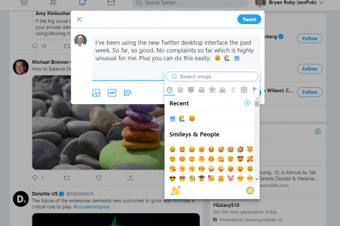 Twitter's New 2019 Web Interface: Composing a new tweet plus emojis